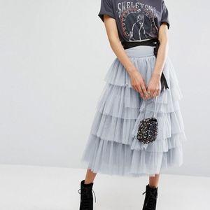 ASOS Women's Gray Asos Tulle Midi Prom Skirt NEW